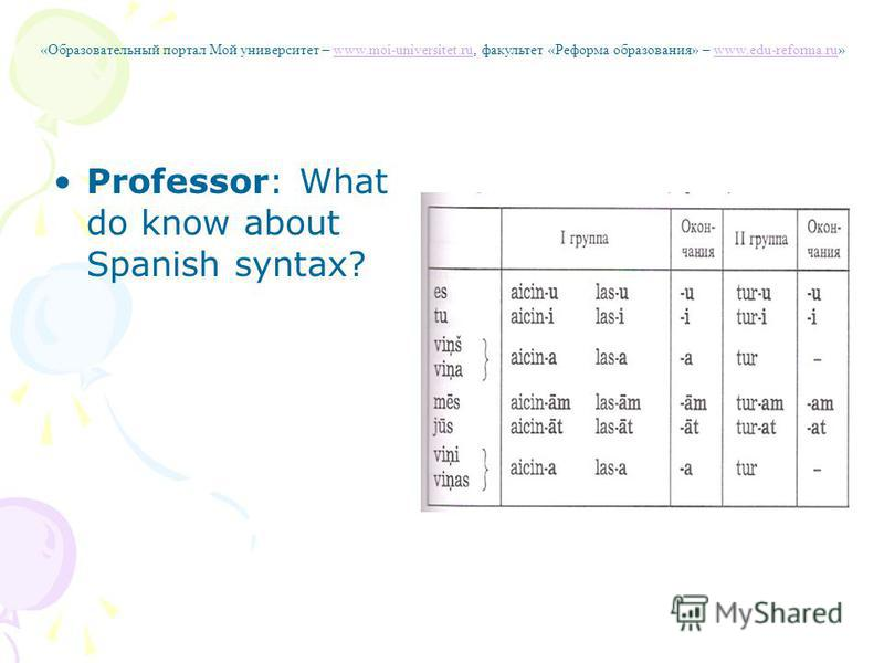 Professor: What do know about Spanish syntax? «Образовательный портал Мой университет – www.moi-universitet.ru, факультет «Реформа образования» – www.edu-reforma.ru»www.moi-universitet.ruwww.edu-reforma.ru