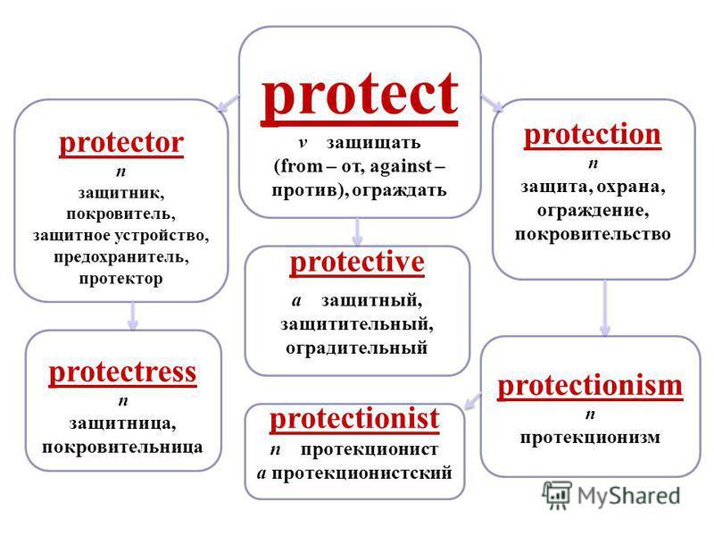 protectress n защитница, покровительница protectionism n протекционизм protection n защита, охрана, ограждение, покровительство protect v защищать (from – от, against – против), ограждать protective a защитный, защитительный, оградительный protection