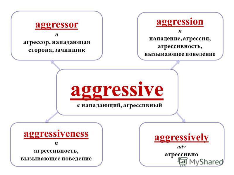 aggressive a нападающий, агрессивный aggressively adv агрессивно aggression n нападение, агрессия, агрессивность, вызывающее поведение aggressor n агрессор, нападающая сторона, зачинщик aggressiveness n агрессивность, вызывающее поведение