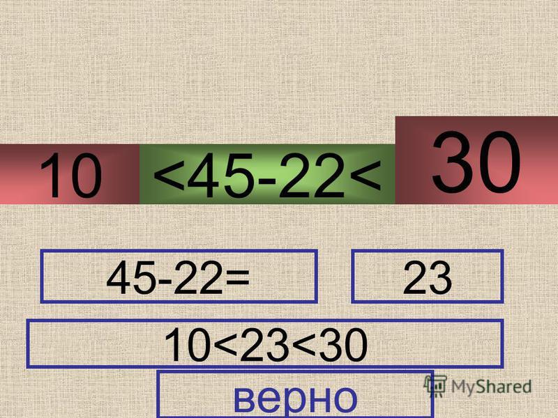 <45-22< 40-30 50-20 10 30 45-22=23 10<23<30 верно