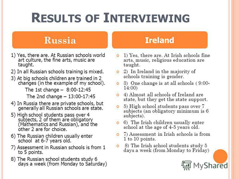 R ESULTS OF I NTERVIEWING 1) Yes, there are. At Russian schools world art culture, the fine arts, music are taught. 2) In all Russian schools training is mixed. 3) At big schools children are trained in 2 changes (in the example of my school). The 1s