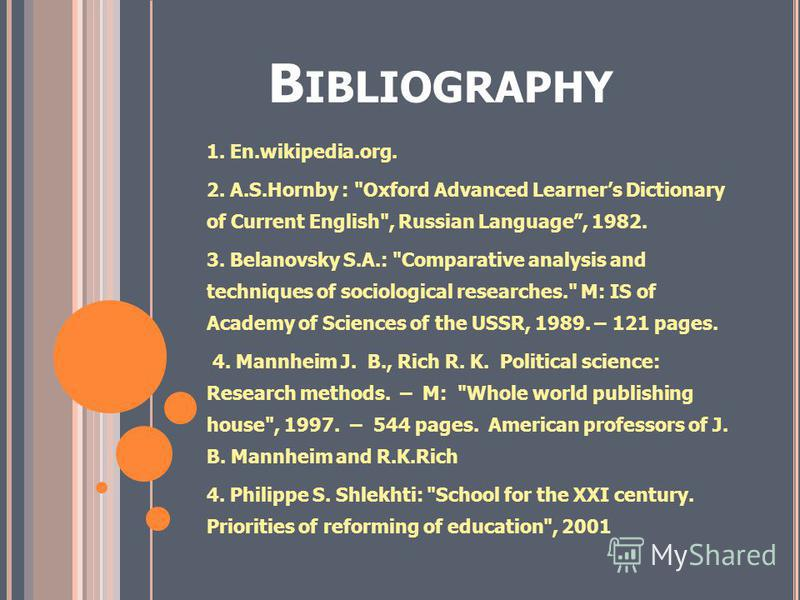B IBLIOGRAPHY 1. En.wikipedia.org. 2. A.S.Hornby :