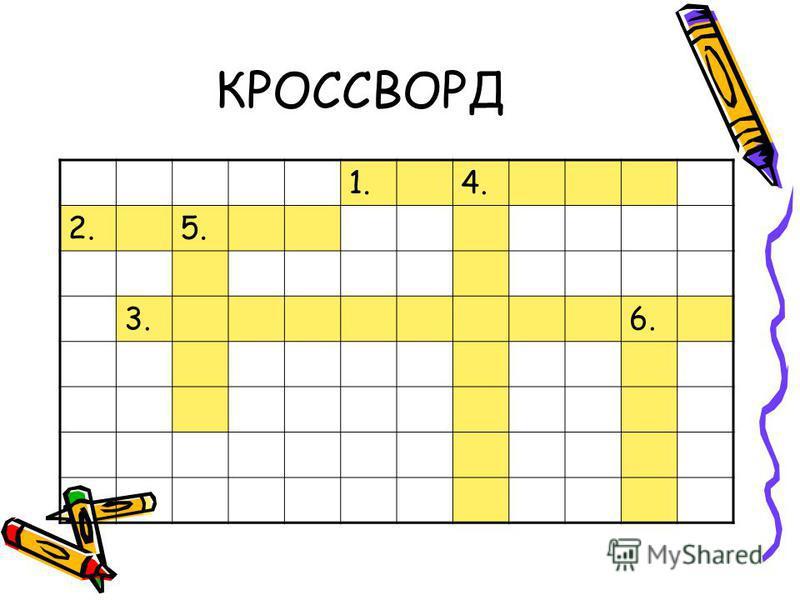 КРОССВОРД 1.4. 2.5. 3.6.