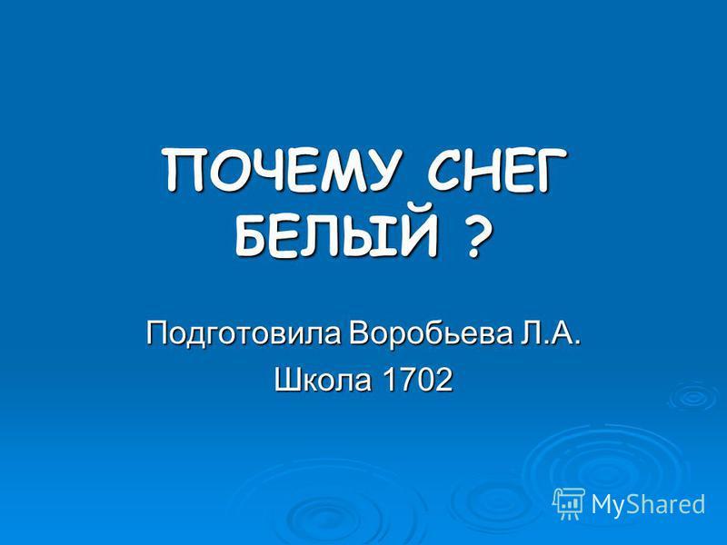ПОЧЕМУ СНЕГ БЕЛЫЙ ? Подготовила Воробьева Л.А. Школа 1702