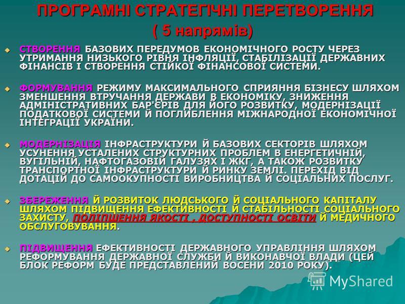 ПРОГРАМНІ СТРАТЕГІЧНІ ПЕРЕТВОРЕННЯ ( 5 напрямів) ПРОГРАМНІ СТРАТЕГІЧНІ ПЕРЕТВОРЕННЯ ( 5 напрямів) СТВОРЕННЯ БАЗОВИХ ПЕРЕДУМОВ ЕКОНОМІЧНОГО РОСТУ ЧЕРЕЗ УТРИМАННЯ НИЗЬКОГО РІВНЯ ІНФЛЯЦІЇ, СТАБІЛІЗАЦІЇ ДЕРЖАВНИХ ФІНАНСІВ І СТВОРЕННЯ СТІЙКОЇ ФІНАНСОВОЇ С