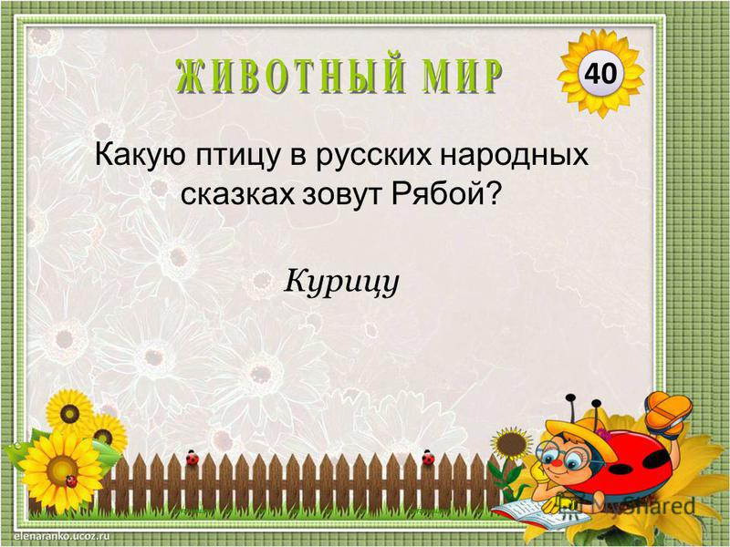 Курицу Какую птицу в русских народных сказках зовут Рябой? 40