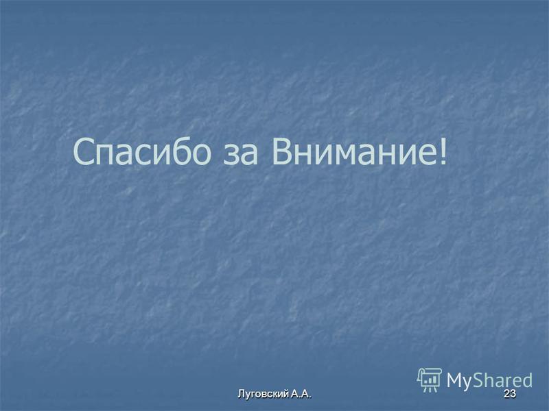 Луговский А.А.23 Спасибо за Внимание!