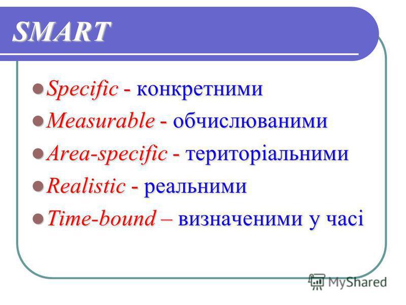 SMART Specific - конкретними Specific - конкретними Measurable - обчислюваними Measurable - обчислюваними Area-specific - територіальними Area-specific - територіальними Realistic - реальними Realistic - реальними Time-bound – визначеними у часі Time