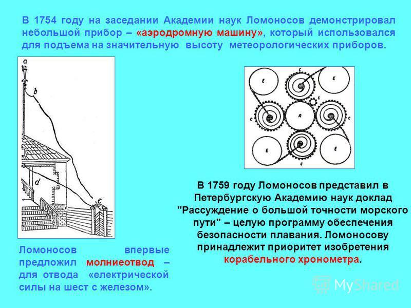В 1754 году на заседании Академии наук Ломоносов демонстрировал небольшой прибор – «аэродромную машину», который использовался для подъема на значительную высоту метеорологических приборов. Ломоносов впервые предложил молниеотвод – для отвода «электр