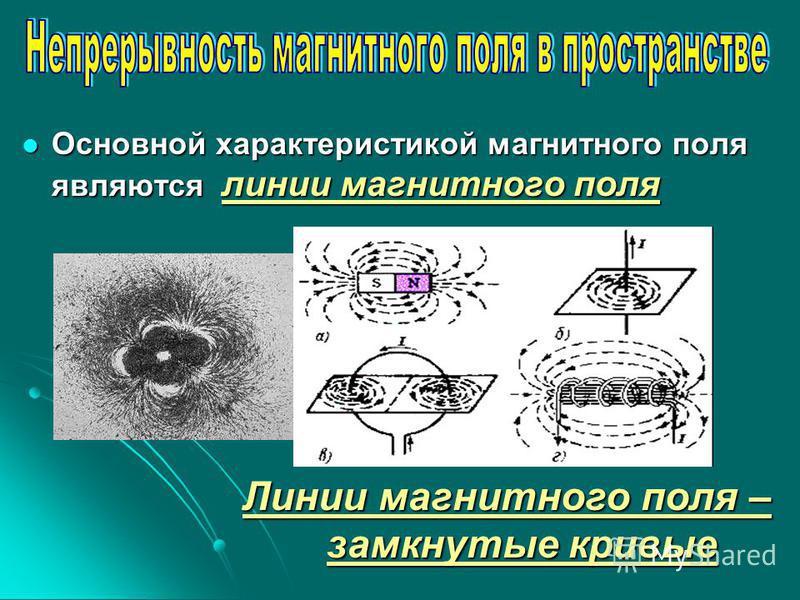 Основной характеристикой магнитного поля являются линии магнитного поля Основной характеристикой магнитного поля являются линии магнитного поля Линии магнитного поля – замкнутые кривые