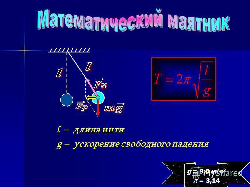l – длина нити g – ускорение свободного падения g = 9,8 м/с 2 = 3,14 = 3,14
