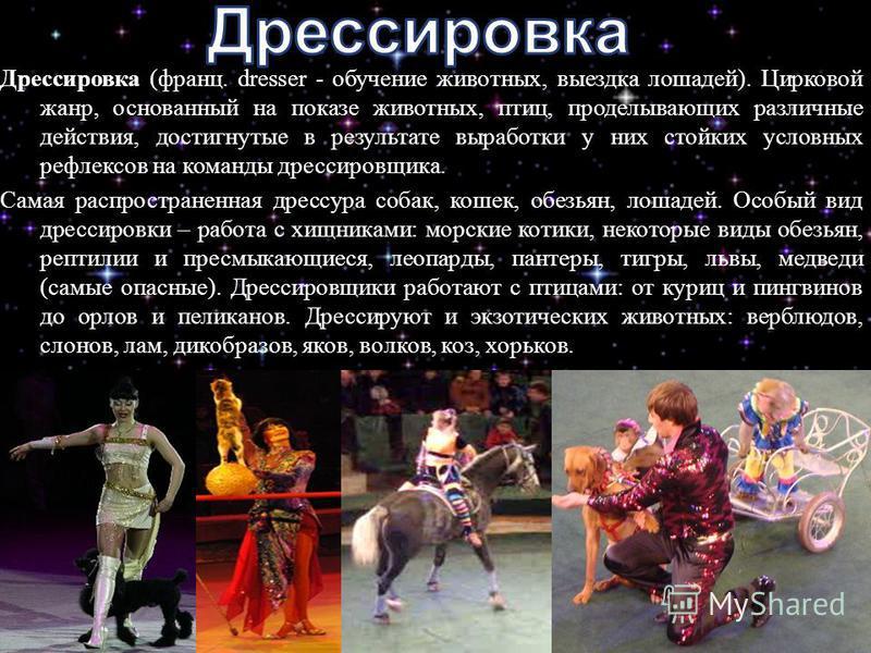 Дрессировка ( франц. dresser - обучение животных, выездка лошадей ). Цирковой жанр, основанный на показе животных, птиц, проделывающих различные действия, достигнутые в результате выработки у них стойких условных рефлексов на команды дрессировщика. С