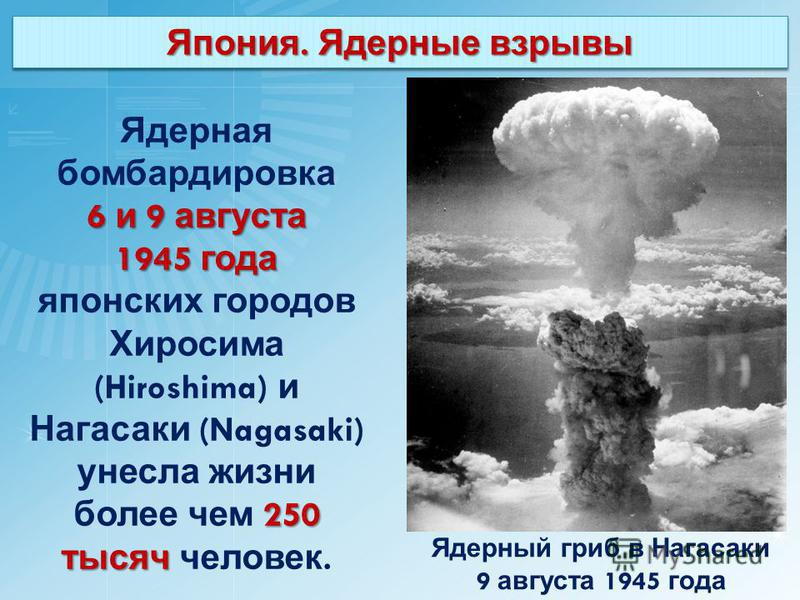 Япония. Ядерные взрывы Ядерная бомбардировка 6 и 9 августа 1945 года 250 тысяч японских городов Хиросима (Hiroshima) и Нагасаки (Nagasaki) унесла жизни более чем 250 тысяч человек. Ядерный гриб в Нагасаки 9 августа 1945 года
