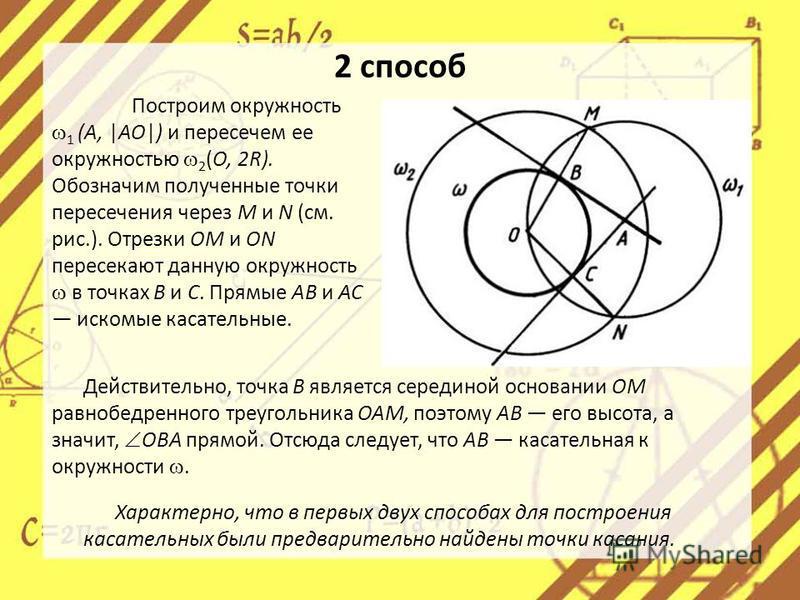 2 способ Построим окружность 1 (А, |АО|) и пересечем ее окружностью 2 (О, 2R). Обозначим полученные точки пересечения через М и N (см. рис.). Отрезки ОМ и ON пересекают данную окружность в точках В и С. Прямые АВ и АС искомые касательные. Характерно,
