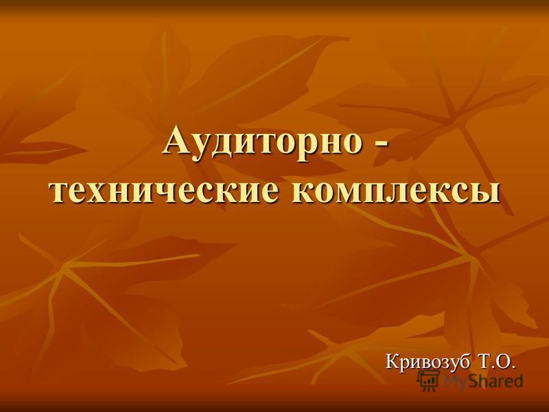 Аудиторно - технические комплексы Кривозуб Т.О.