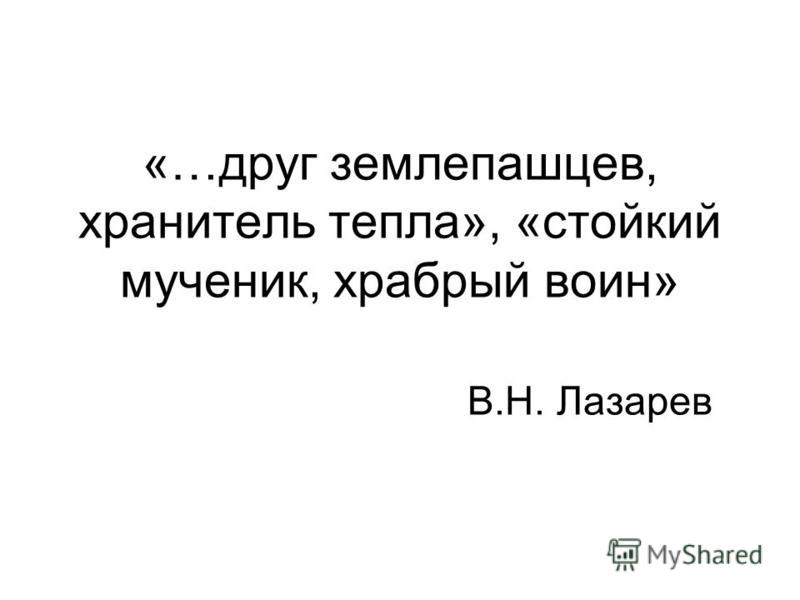 «…друг землепашцев, хранитель тепла», «стойкий мученик, храбрый воин» В.Н. Лазарев