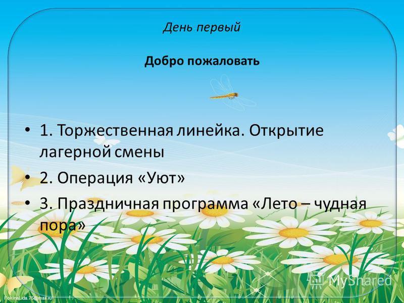 FokinaLida.75@mail.ru День первый Добро пожаловать 1. Торжественная линейка. Открытие лагерной смены 2. Операция «Уют» 3. Праздничная программа «Лето – чудная пора»