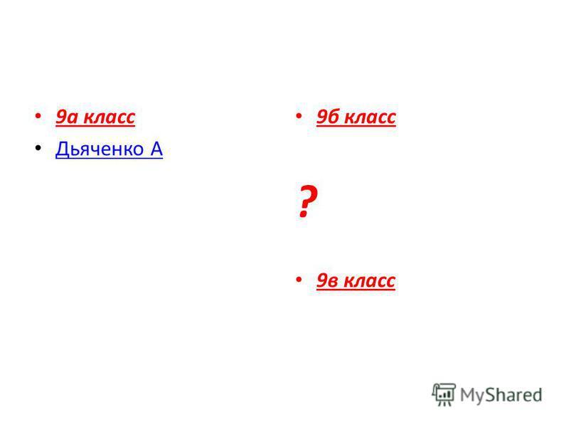 9 а класс Дьяченко А 9 б класс ? 9 в класс