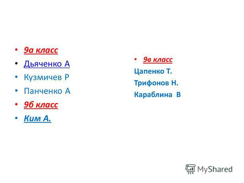 9 а класс Дьяченко А Кузмичев Р Панченко А 9 б класс Ким А. 9 в класс Цапенко Т. Трифонов Н. Караблина В