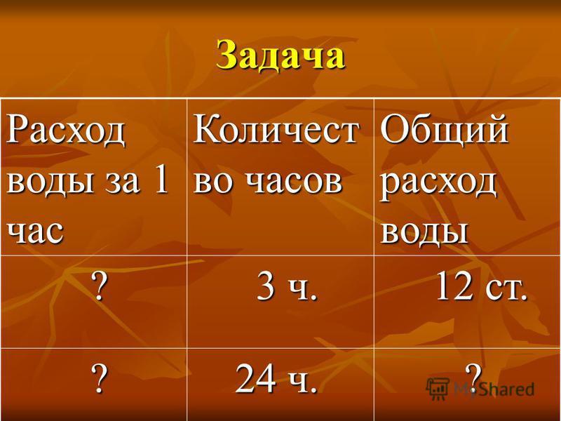 Задача Расход воды за 1 час Количест во часов Общий расход воды ? 3 ч. 3 ч. 12 ст. 12 ст. ? 24 ч. 24 ч. ?