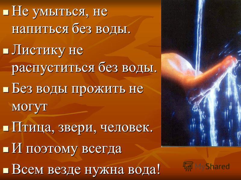 Не умыться, не напиться без воды. Не умыться, не напиться без воды. Листику не распуститься без воды. Листику не распуститься без воды. Без воды прожить не могут Без воды прожить не могут Птица, звери, человек. Птица, звери, человек. И поэтому всегда