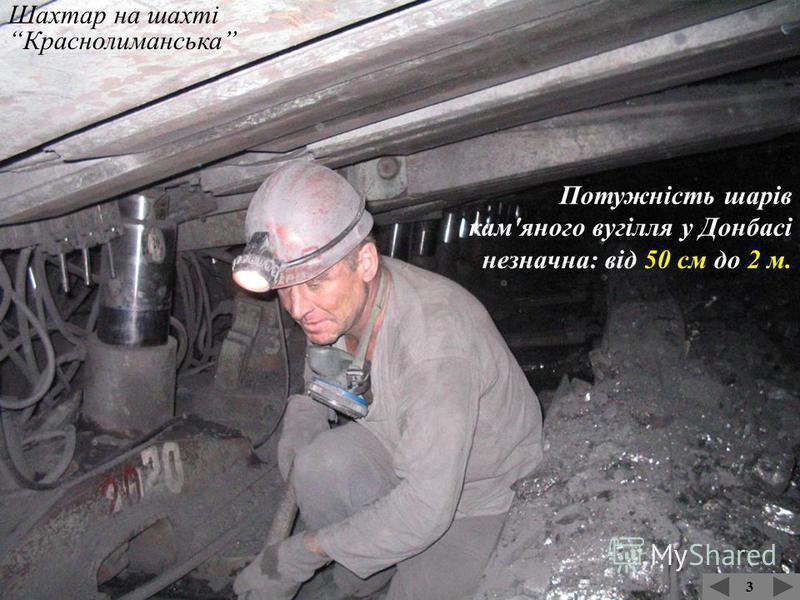 3 Вугільна вагонетка У Донбасі кам'яне вугілля видобувають шахтним способом. Глибина залягання вугленосних шарів в середньому – 500-750 м. Найглибша шахта – 1405 м.