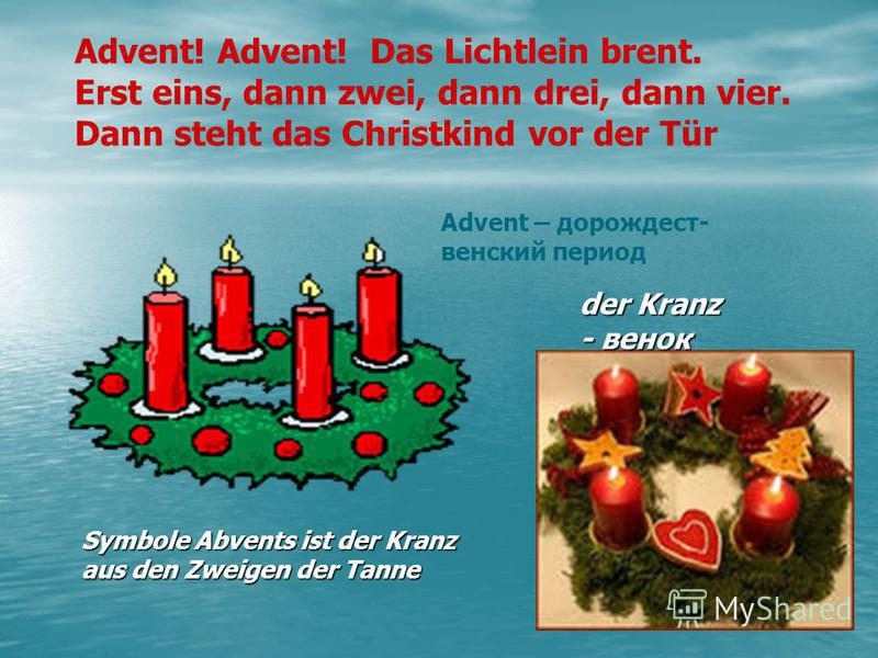 Symbole Abvents ist der Kranz aus den Zweigen der Tanne Advent! Advent! Das Lichtlein brent. Erst eins, dann zwei, dann drei, dann vier. Dann steht das Christkind vor der Tür Advent – дорождест- венский период der Kranz - венок