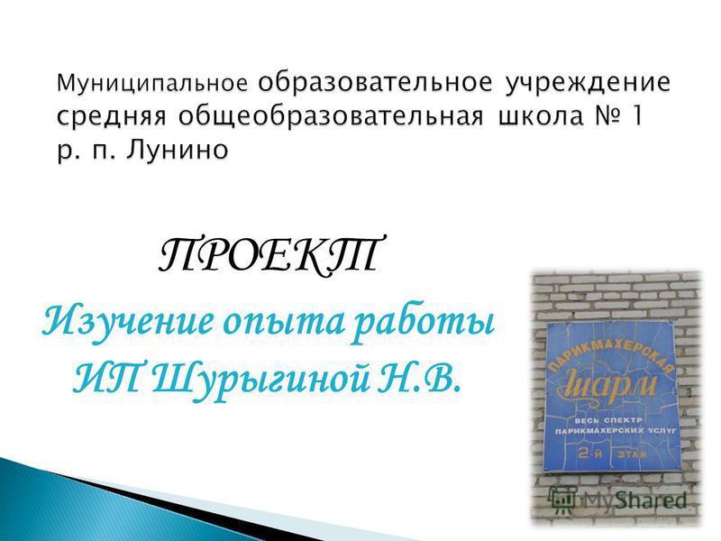 ПРОЕКТ Изучение опыта работы ИП Шурыгиной Н.В.