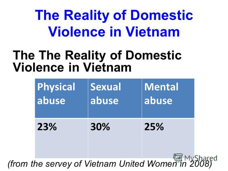 The Reality of Domestic Violence in Vietnam The The Reality of Domestic Violence in Vietnam Physical abuse Sexual abuse Mental abuse 23%30%25% (from the servey of Vietnam United Women in 2008)