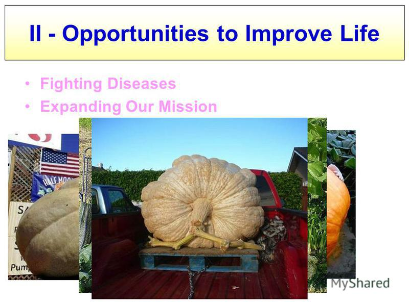 Fighting Diseases Expanding Our Mission II - Opportunities to Improve Life