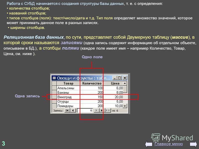 3 Реляционная база данных, по сути, представляет собой Двумерную таблицу (массив), в которой сроки называются записями (одна запись содержит информацию об отдельном объекте, описываем в БД.), а столбцы полями (каждое поле имеет имя – например Количес