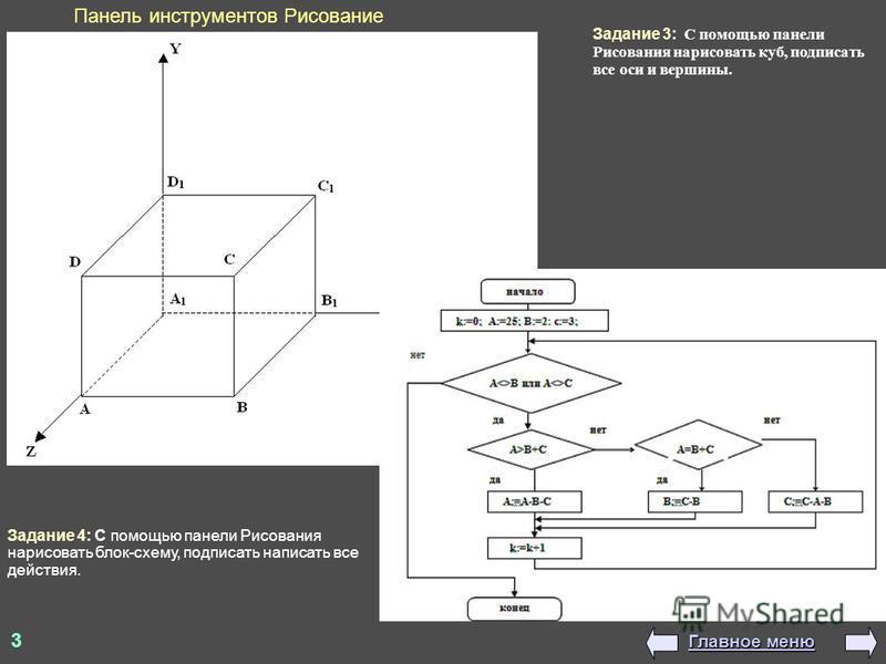 3 Панель инструментов Рисование Задание 4: С помощью панели Рисования нарисовать блок-схему, подписать написать все действия. Задание 3: С помощью панели Рисования нарисовать куб, подписать все оси и вершины. Главное меню Главное меню