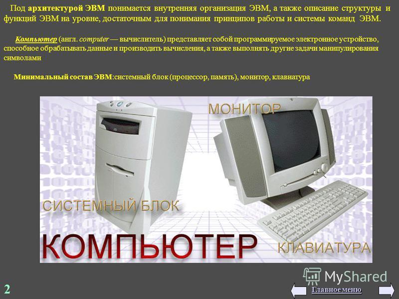 2 Минимальный состав ЭВМ:системный блок (процессор, память), монитор, клавиатура Под архитектурой ЭВМ понимается внутренняя организация ЭВМ, а также описание структуры и функций ЭВМ на уровне, достаточным для понимания принципов работы и системы кома