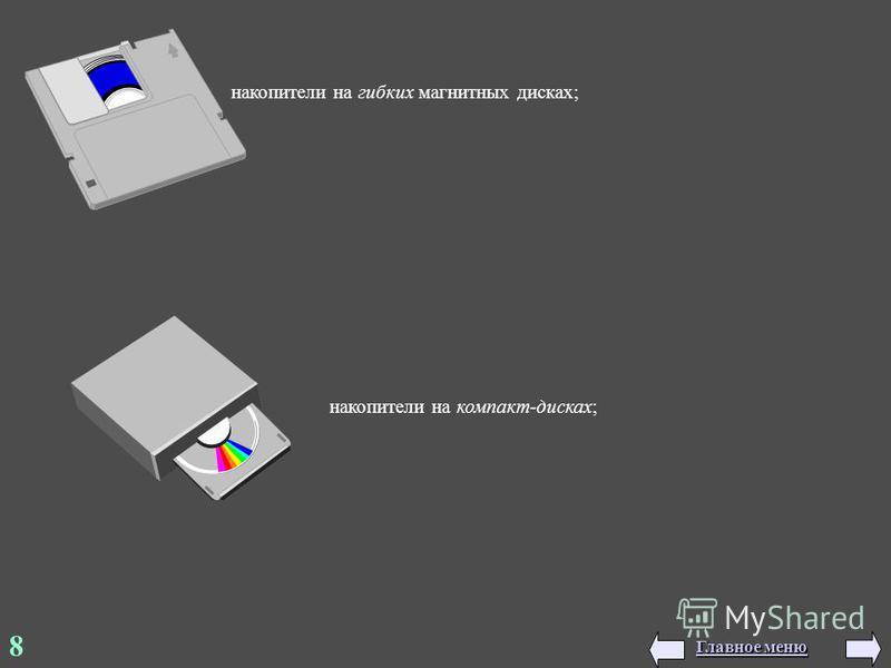 накопители на гибких магнитных дисках; 8 накопители на компакт-дисках; Главное меню Главное меню