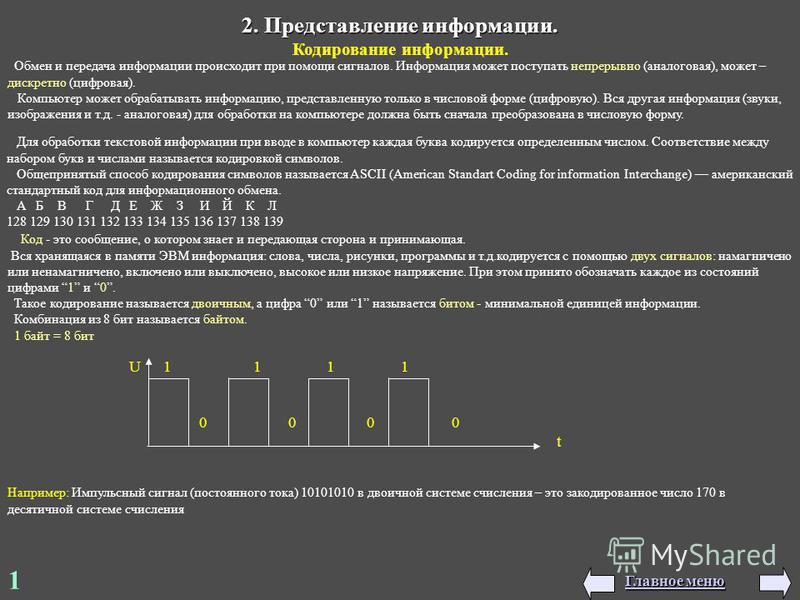 2. Представление информации. Кодирование информации. 1 U 1 1 1 1 0 0 0 0 t Например: Импульсный сигнал (постоянного тока) 10101010 в двоичной системе счисления – это закодированное число 170 в десятичной системе счисления Обмен и передача информации