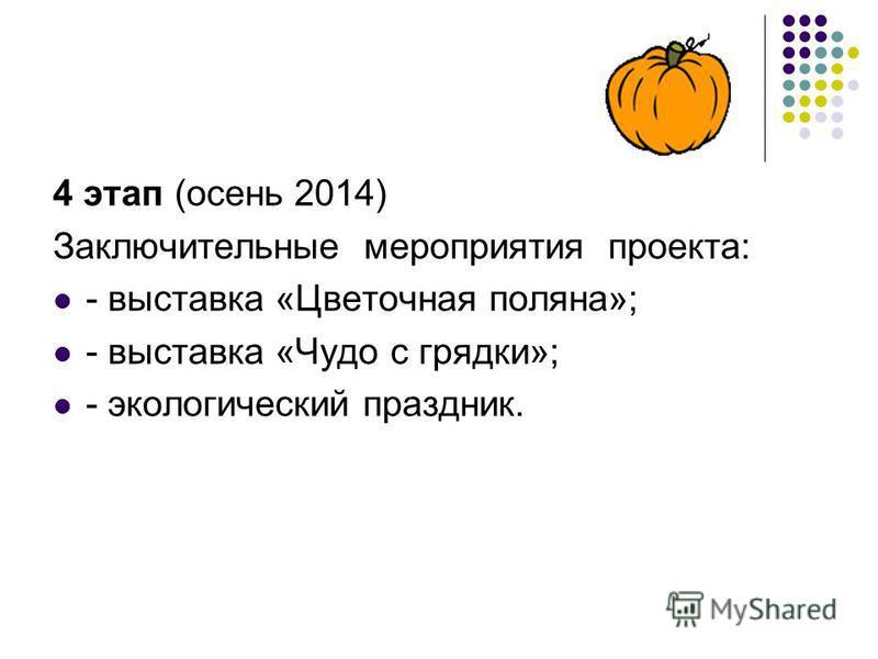 4 этап (осень 2014) Заключительные мероприятия проекта: - выставка «Цветочная поляна»; - выставка «Чудо с грядки»; - экологический праздник.