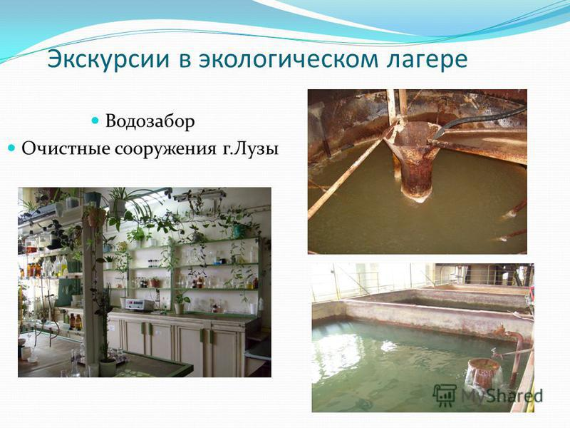 Экскурсии в экологическом лагере Водозабор Очистные сооружения г.Лузы