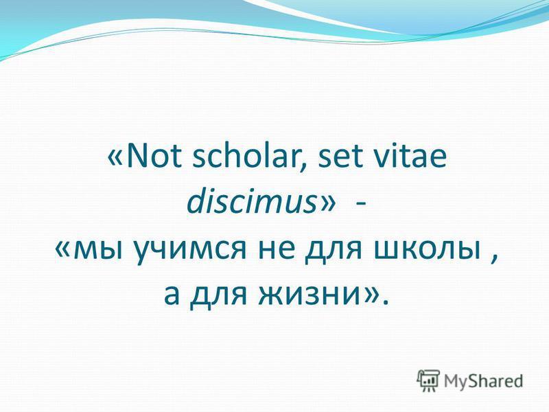 «Not scholar, set vitae discimus» - «мы учимся не для школы, а для жизни».
