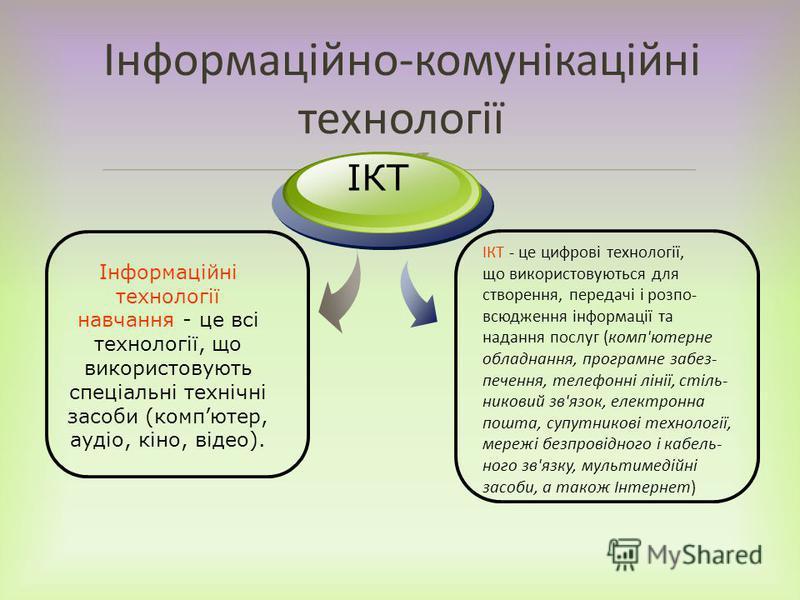 Інформаційно-комунікаційні технології Інформаційні технології навчання - це всі технології, що використовують спеціальні технічні засоби (компютер, аудіо, кіно, відео). ІКТ ІКТ - це цифрові технології, що використовуються для створення, передачі і ро
