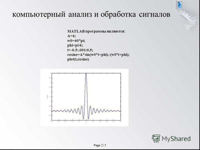 Page 7 компьютерный анализ и обработка сигналов MATLAB программы являются : A=4; w0=40*pi; phi=pi/6; t=-0.5:.001:0.5; cosine=A*sin(w0*t+phi)./(w0*t+phi); plot(t,cosine)