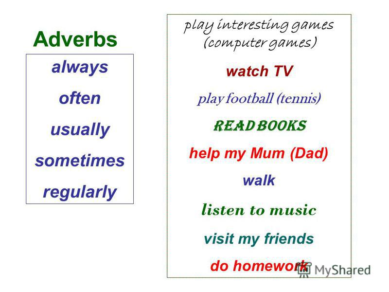 always often usually sometimes regularly play interesting games (computer games) watch TV play football (tennis) read books help my Mum (Dad) walk listen to music visit my friends do homework Adverbs