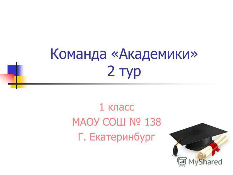 Команда «Академики» 2 тур 1 класс МАОУ СОШ 138 Г. Екатеринбург