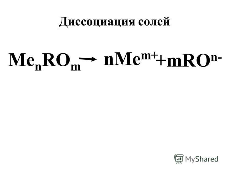 Диссоциация солей Me n RO m +mRO n- nMe m+
