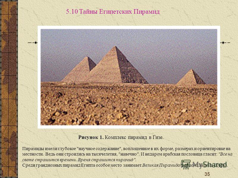 35 5.10 Тайны Египетских Пирамид Рисунок 1. Комплекс пирамид в Гизе. Пирамиды имели глубокое