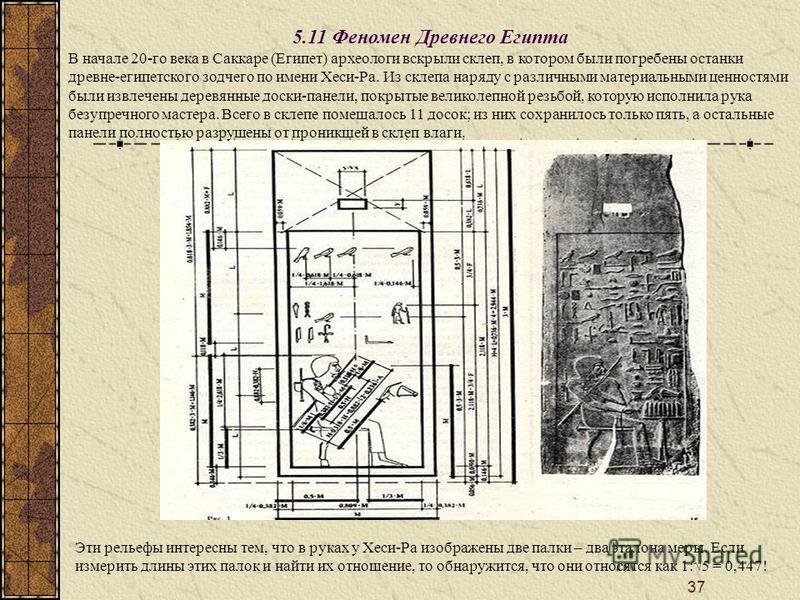 37 5.11 Феномен Древнего Египта В начале 20-го века в Саккаре (Египет) археологи вскрыли склеп, в котором были погребены останки древне-египетского зодчего по имени Хеси-Ра. Из склепа наряду с различными материальными ценностями были извлечены деревя