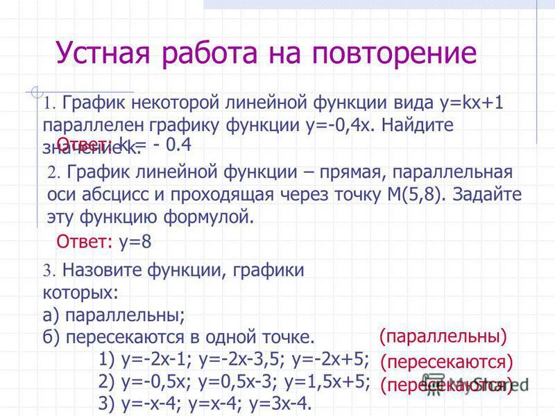 1. График некоторой линейной функции вида y=kx+1 параллелен графику функции y=-0,4 х. Найдите значение k. Ответ: k = - 0.4 Устная работа на повторение 2. График линейной функции – прямая, параллельная оси абсцисс и проходящая через точку M(5,8). Зада