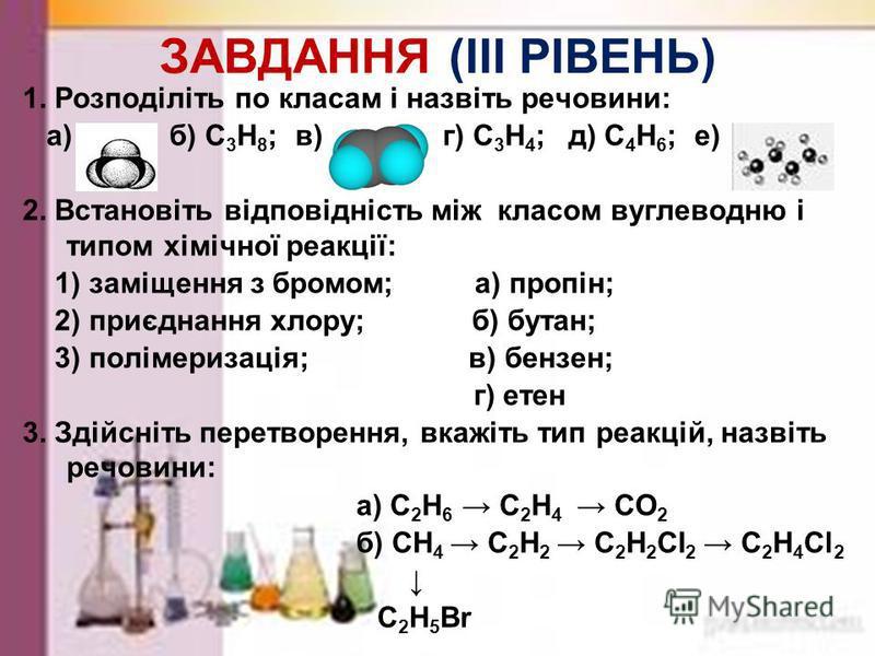 ЗАВДАННЯ (ІI РІВЕНЬ) 1. Визначіть речовини, встановіть клас сполук, складіть їх структурні формули: а) б) в) 2. Складіть структурні формули речовин: а) 1-пропін; б) 2-бутен. 3. Допишіть рівняння реакцій, встановіть тип реакцій, назвіть речовини: а) С