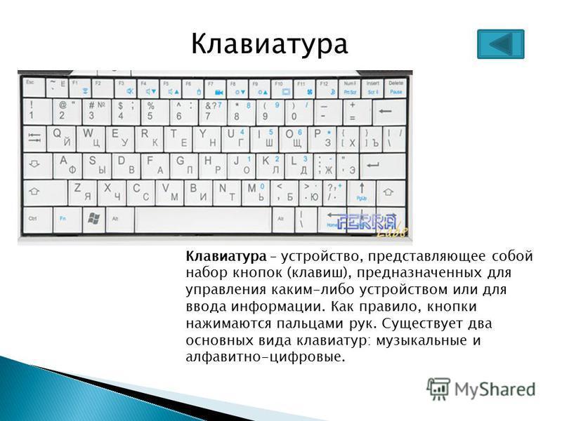 Клавиатура – устройство, представляющее собой набор кнопок (клавиш), предназначенных для управления каким-либо устройством или для ввода информации. Как правило, кнопки нажимаются пальцами рук. Существует два основных вида клавиатур: музыкальные и ал