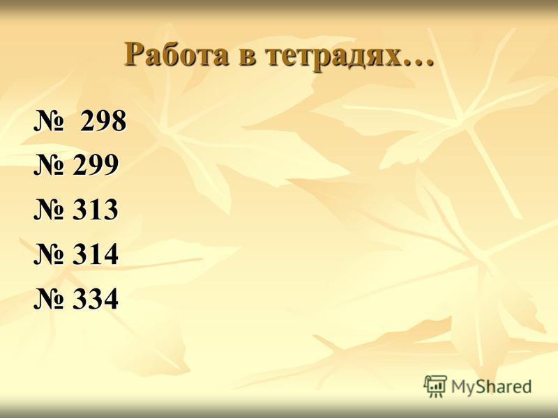 Работа в тетрадях… 298 298 299 299 313 313 314 314 334 334