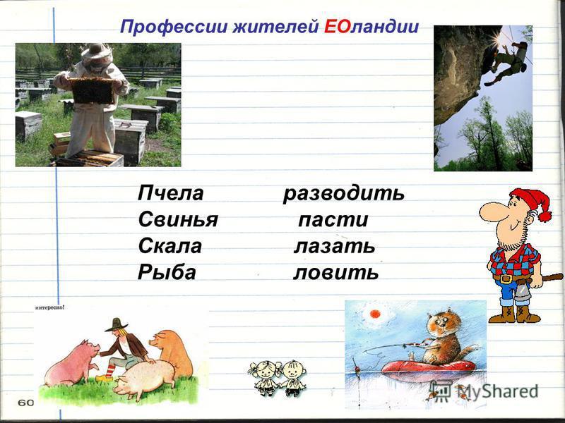 Профессии жителей ЕОландии Пчела разводить Свинья пасти Скала лазать Рыба ловить